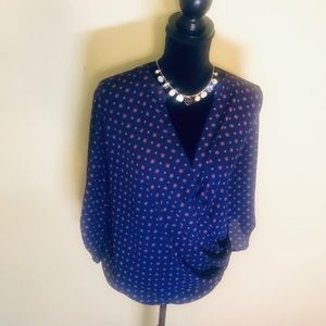 Plus size Blue with Pink Patterned Blouse